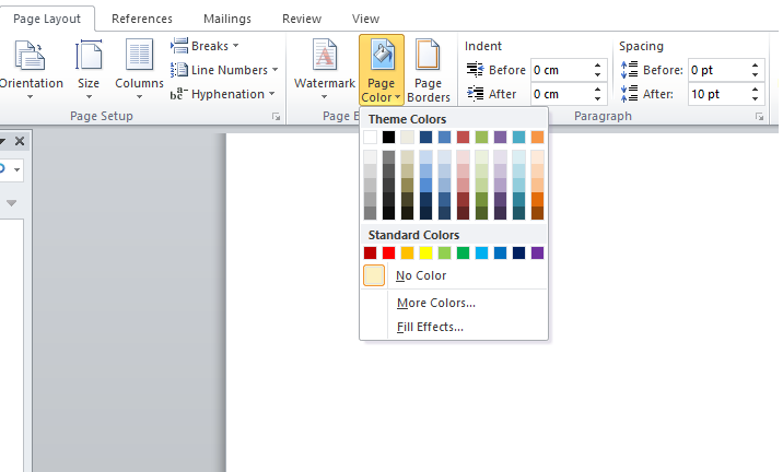 تغییر رنگ صفحات ورد