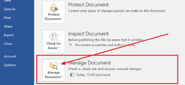 بازیابی سند ذخیره نشده مایکروسافت ورد
