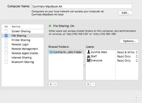 اشتراک گذاری فایل ها را در مک تنظیم کنید